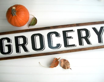 Grocery Sign . Kitchen Sign . Farmhouse . Fall Decor. Farmhouse Kitchen . Fixer Upper . 30 x 7 . Modern Farmhouse .