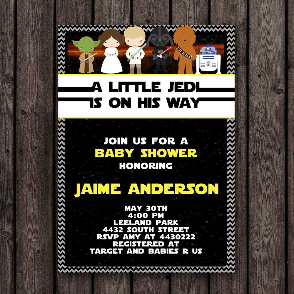 Fast ship star wars baby shower invitation customized zoom filmwisefo Image collections