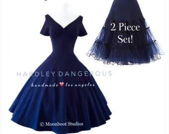 sale! 2 Piece Set!  Navy Blue Cherrybomb V-Neck Swing Dress Hardley Dangerous Couture, 1950s Pin Up Party Dress, You Choose the Fabric!