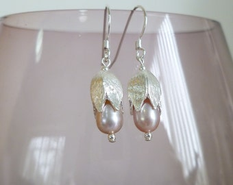 Pink Fresh Water Pearls with Sterling Silver Flower Earrings UK Made