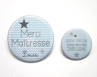 Set of 2 Magnet 56 and 37mm - thank you teacher personalized Chevron light blue