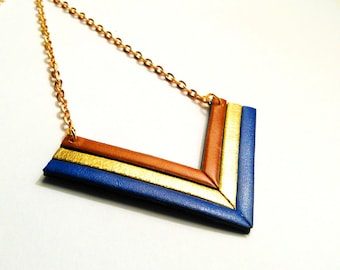 Necklace leather cobalt gold and whiskey