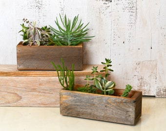 "Handmade Reclaimed Wood Succulent Planter Box Holds 2"" x 7.5"" - Small Planter Wedding Decoration - Can Be Personalized with Initials"