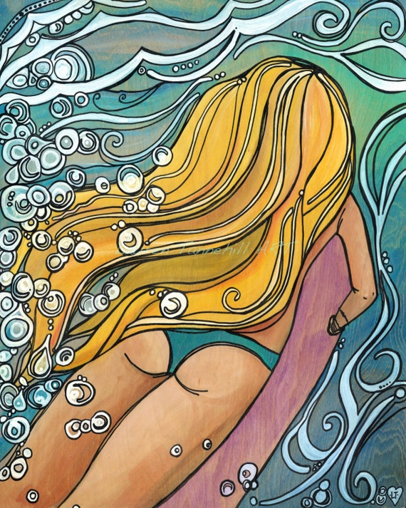 11x14 Large Print of Surfer Girl Duckdiving Under a Wave Surf Art by Lauren Tannehill ART