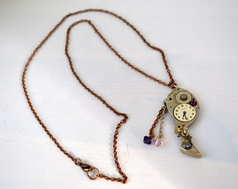 Vintage pocket watch part with gears and swarovski crystals necklace