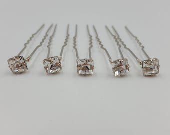 Swarovski Crystal Hair Pins (Square) Set of 5, 10 or 15. 6mm Crystals. Bridal Hair Accessories. Wedding Hair Accessories. Diamanté Hair Pins
