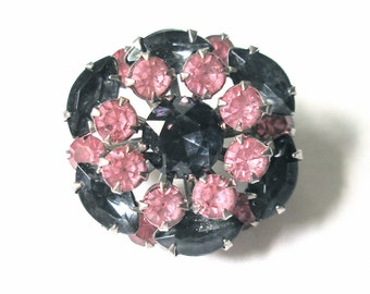 Vintage Rhinestone Brooch Pink and Smokey Gray Blue 1950s