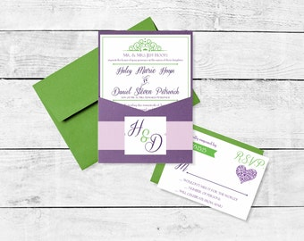 Purple Green Traditional Wedding Invitation Suite