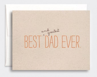 Funny Father's Day Card - Best & Greatest Dad Ever - Birthday Card for Dad, Brown Recycled Card, Orange Typography - Rustic