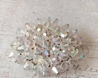 Crystal beaded vintage brooch