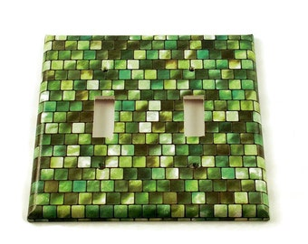 Double Light Switch Cover Wall Decor Switchplate Cover  Single Switch Plate in Green Tiles (198D)
