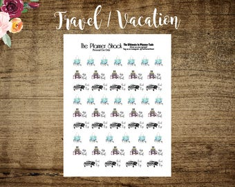 Travel // Road Trip // Pack Suitcases // Packing // Printable Stickers // Planner Stickers // Planner Printables // Vacation // Cut Files