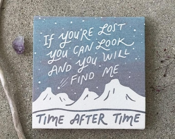 Time After Time Cyndi Lauper Screen Print Home Decor Celestial Wall Art