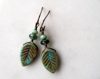 Leaf Earrings / Turquoise and Green Brass Earrings / Bohemian Earrings / Nature Lover Jewelry / Boho Chic Leaf Earrings / Green Earrings