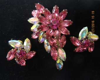 ANTIQUE Pink/AB RHINESTONE Brooch, Costume Jewelry, Vintage Jewelry