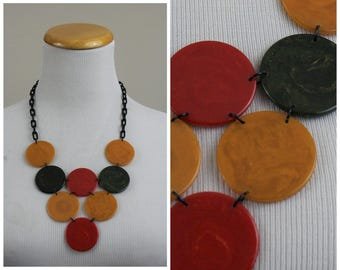 Vintage Multi-Color Authentic tested BAKELITE Bib Necklace Plastic Celluloid Link Chain