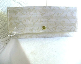 Cash Envelope Wallet, Paris, Eiffel Tower, Slim Wallet, Personalized, Wedding Gift, 7 Inch, Add On Coin Purse, Notepad, Card Holder