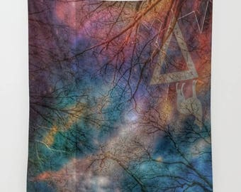 Wolf Night Wall Tapestry, Trees, Forest, Night Sky Home Decor, Nature Tapestry, Dorm, Office, Whimsical Tree Branches, Woodland, Woods, Wild