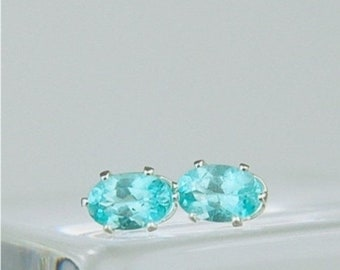 Memorial Day Sale Apatite Stud Earrings Sterling Silver 6x4mm 1.05ctw