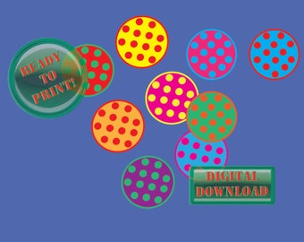 Polka Dot Diner Party Cupcake Toppers Printable 12 Cake Decorations Retro 1950s Birthday Favors Decoration Red Green Purple Aqua Orange Pink