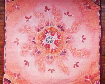 Peach Pink Flower Mandala - Hand painted silk tarot cloth, altar cloth, square scarf - 25 x 25 inches, crepe de chine silk