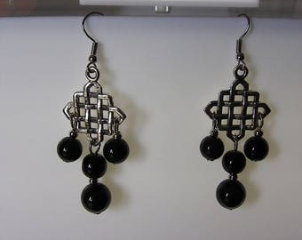 original earrings with a brass and pearls