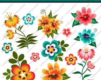 INSTANT DOWNLOAD - Digital Clip Art Flowers - Clip Art Flowers, Digital Paper Flowers, Printable Flowers for Personal & Commercial Use