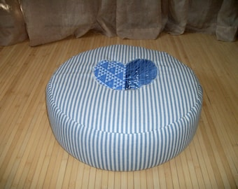 """Large Zafu. Round Floor Pillow. Ottoman. UNFILLED COVER Only. Blue/White Ticking fabric with Applique Heart. 17"""" dia. x 6"""". H. Handmade, USA"""