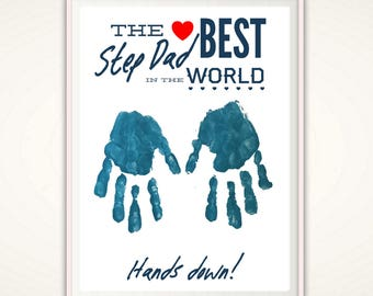 Step Dad Gift - Fathers Day Gift for Step Dad, Gifts for Stepdad, Step Father Personalized Present, From Stepkid, DIY Handprint Art, DIGITAL