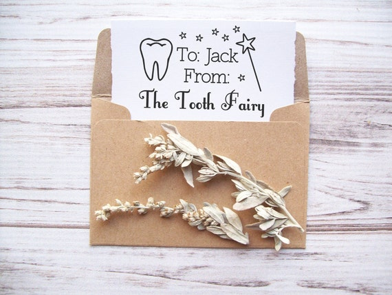 Tooth Fairy Stamp - Custom Rubber Stamp with Childs Name To From Personalized for signing Tooth Fairy Notes Gifts