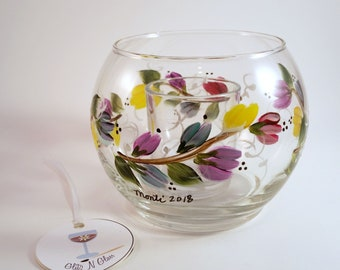 Hand Painted Glass Fish Bowl Candle Holder With Multi-Colored Pastel Blooms on a Vine