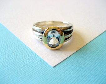 Designer Lorenzo 18kt Gold and Sterling Aquamarine Ring Size 6.5
