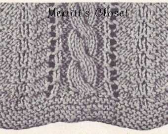"""Cable Scarf,   9"""" X 74"""" Long Scarf,  Knitting Pattern, INSTANT Download pdf"""