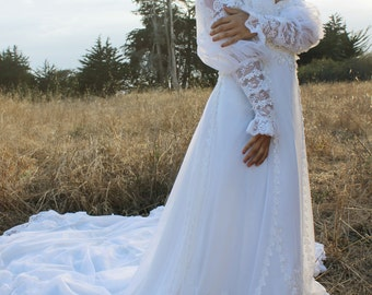 MEADOW Vintage 1980's Wedding Dress White Princess Cut Long Sleeve Lacy Cuffs Maxi Gown with Train Floral Applique Bridal