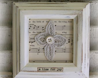 Shabby White Decor Altered Lace Art Vintage Lace Collage Wall Hanging Cottage Style Antique Sheet Music Vintage Lace Shabby Style