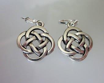 Silver Celtic Earrings, Celtic Knot Earrings, Celtic Jewelry, Unisex Dangle, Antiqued Fine Silver Pewter,  Celtic Knot  Dangle