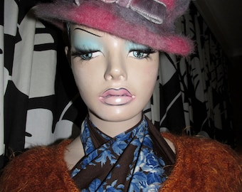 Vintage mohair hat.Mohair hat made in Italy.Woman vintage mohair hat.