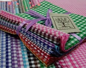Vintage Fabric Pack Gingham Plaid Retro Scrap Bundle 20 Color Lot Grab Bag PreCut Cotton Check Print Japanese By the Yard Destash Design Set