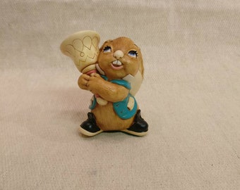 Pendelfin Rabbit Clanger Figurine, hand painted stonecraft.