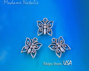 Butterfly Charms (10), Tibetan Silver Butterfly Charms, Small Butterfly Pendant, Insect Jewelry Findings, Cute Butterfly Bracelet Charms