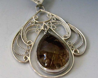 Sterling Silver Feminine Filigree Pendant with Golden Rutile Quartz-FREE Shipping