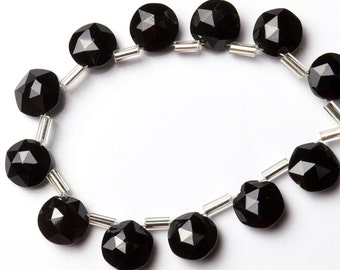 Natural Gemstone Black Spinel 10 MM Faceted Coin Shape Beads 6 Inch Full Strand Dark Z Black Color Micro Facet