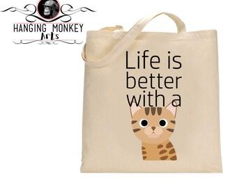 Bengal Cat gifts, Bengal Cat tote Bag, Bengal Cat Shopper, Bengal Cat eco bag, eco friendly bag, cotton shopper with long handles