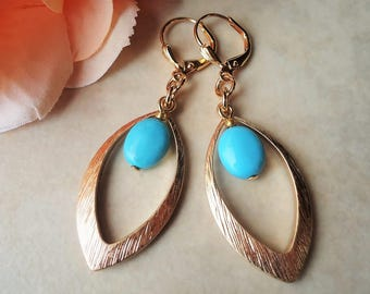 Turquoise Stone Hoop Earrings.Oval Drop.Metal.Gold.Blue.Statement.Bridal.Long Earrings.Bohemian.Valentine.Mother's.Birthday.Gift. Handmade.