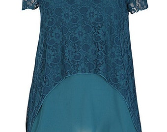 New Emily Teal Layered Lace Evening Plus Size Top
