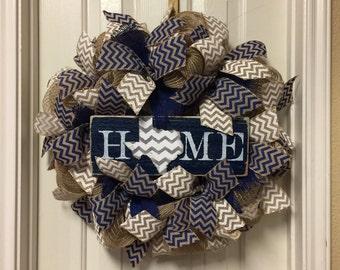 Dallas Cowboy Burlap Wreath - NFL Burlap Wreath Navy and White Home Sign