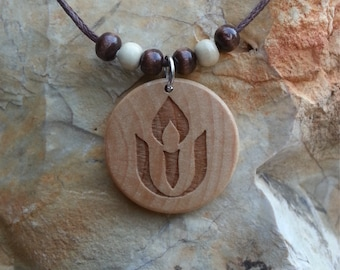 Round UU Chalice Engraved Wood Necklace