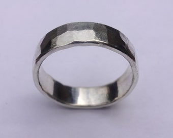 Sterling silver hammered male wedding band