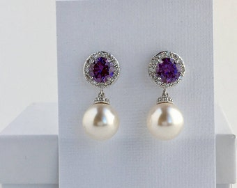 Amethyst Bridal Earrings Purple Crystal Halo Earrings Bridal Cubic Zirconia Earrings Purple Crystal Earrings Bridal Swarovski Pearl Earrings