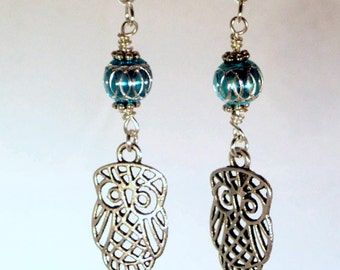 Pewter Owls and Blue Aluminum Laser Cut Bead Earrings